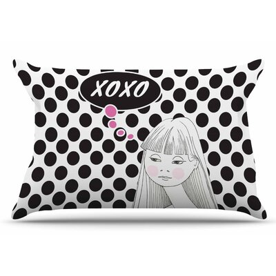 Zara Martina Mansen Xoxo Pop Art Polka Dot Girl Pillow Case