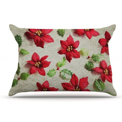 Sylvia Cook Poinsettia Holiday Leaves Pillow Case