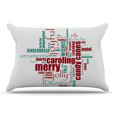 Sylvia Cook Yuletide Christmas Typography Pillow Case