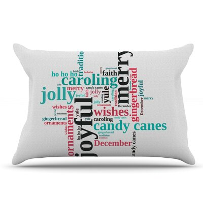 Sylvia Cook Holiday Traditions Christmas Typography Pillow Case