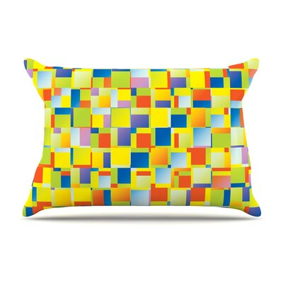 Dawid Roc Multi Color Blocking Geometric Pillow Case
