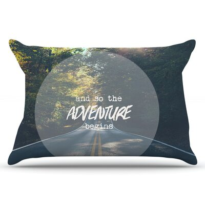 Ann Barnes The Adventure Begins Typography Nature Pillow Case