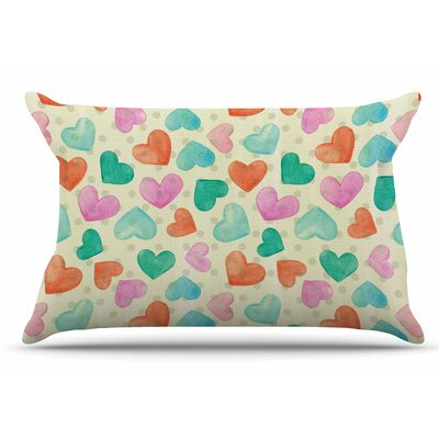 Louise Machado 'Watercolor Hearts' Pillow Case