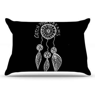 Vasare Nar Catch Your Dreams Typography Illustration Pillow Case Color: Black