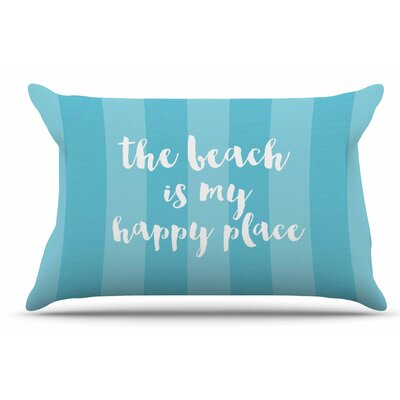 Sylvia Cook Beach Is My Happy Place Typography Pillow Case Color: Aqua/Blue