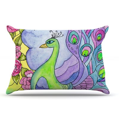 Catherine Holcombe Stained Glass Watercolor Peacock Pillow Case
