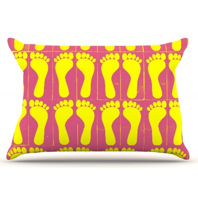 Sreetama Ray Footprints Pillow Case Color: Yellow/Pink