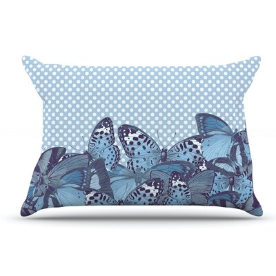Suzanne Carter Butterfly Polka Pillow Case Color: Aqua
