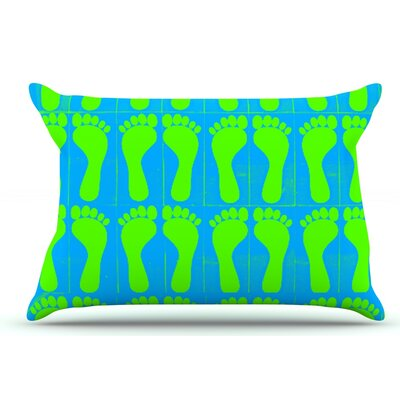 Sreetama Ray Footprints Pillow Case Color: Blue/Aqua