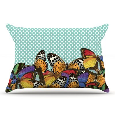 Suzanne Carter Butterfly Polka Pillow Case Color: Teal