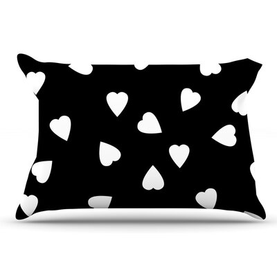 Suzanne Carter Hearts Black Pillow Case Color: Black