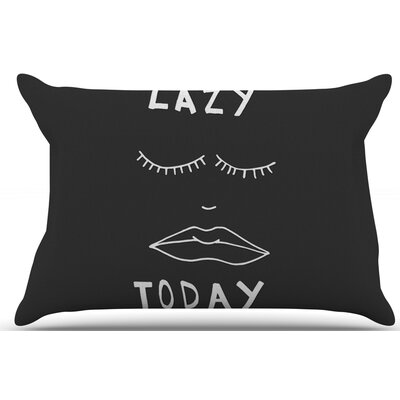 Vasare Nar Lazy Today Typography Pillow Case Color: Black