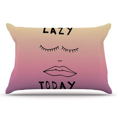Vasare Nar Lazy Today Typography Pillow Case Color: Yellow/Pink