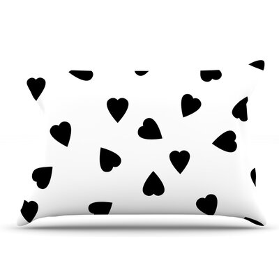 Suzanne Carter Hearts Black Pillow Case Color: White