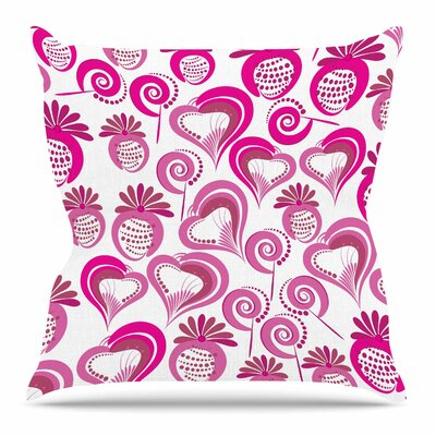 Maria Bazarova Sweet Love Outdoor Throw Pillow Size: 16 H x 16 W x 5 D, Color: Pink/White