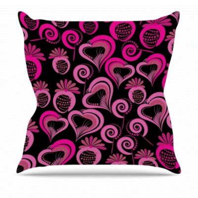 Maria Bazarova Sweet Love Outdoor Throw Pillow Size: 16 H x 16 W x 5 D, Color: Pink/Black