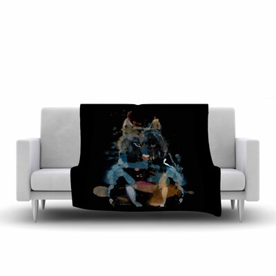 Frederic Levy Hadida Watercolor Foxy Watercolor Fleece Throw Size: 50 W x 60 L