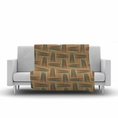 Empire Ruhl Crosshatch Digital Fleece Throw Color: Beige/Brown, Size: 60 W x 80 L