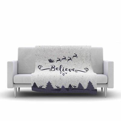 Famenxt Christmas Believe Illustration Fleece Throw Size: 60 W x 80 L