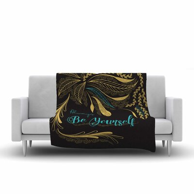 Famenxt Always Be Yourself Fleece Throw Color: Gold/Black/Teal, Size: 60 W x 80 L