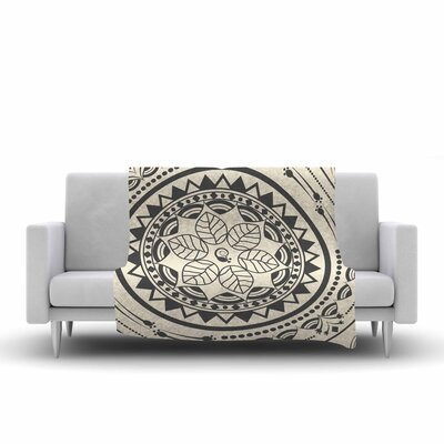 Famenxt Boho Folk Mandala Digital Fleece Throw Size: 50 W x 60 L, Color: Beige/Black