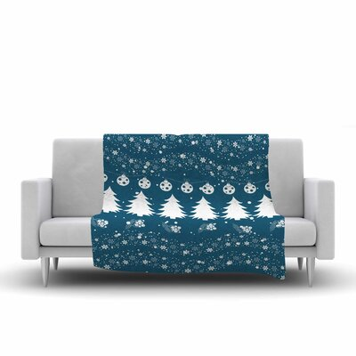 Famenxt Merry Merry Christmas Holiday Illustration Fleece Throw Size: 60 W x 80 L