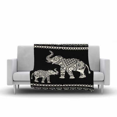Famenxt Ornamental Indian Elephant Digital Fleece Throw Size: 60 W x 80 L