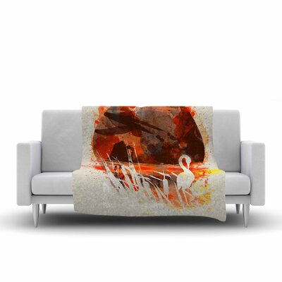 Frederic Levy Hadida Moon Painted with Tea Digital Fleece Throw Size: 50 W x 60 L