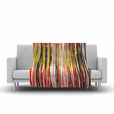 Frederic Levy Hadida Stripes Illustration Fleece Throw Size: 60 W x 80 L