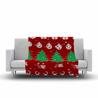 Famenxt Christmas Vibes Illustration Fleece Throw Size: 60 W x 80 L
