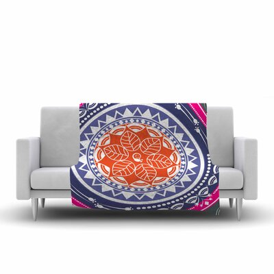 Famenxt Boho Folk Mandala Digital Fleece Throw Size: 50 W x 60 L, Color: Olive