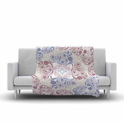 Famenxt Floral Dense Garden Illustration Fleece Throw Size: 50 W x 60 L