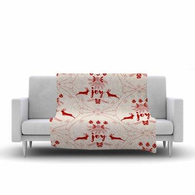 Famenxt Christmas Joy Pattern Digital Fleece Throw Size: 50 W x 60 L