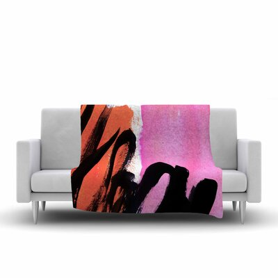 Iris Lehnhardt Strokes on Sherbet Abstract Fleece Throw Size: 60 W x 80 L