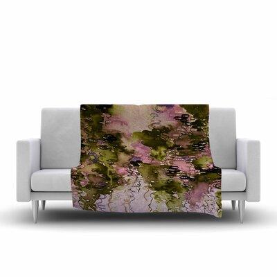 Ebi Emporium Beauty in the Rain Fleece Throw Size: 60 W x 80 L, Color: Olive/Pink