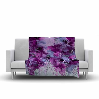 Ebi Emporium Beauty in the Rain Fleece Throw Color: Purple, Size: 60 W x 80 L