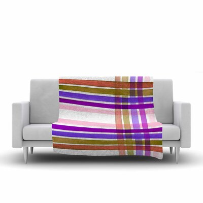 Ebi Emporium Plaid Stripes in Color 6 Fleece Throw Size: 60 W x 80 L