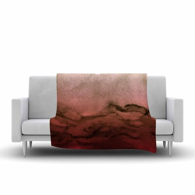 Ebi Emporium Winter Waves, Painting Fleece Throw Size: 50 W x 60 L, Color: Red/Black