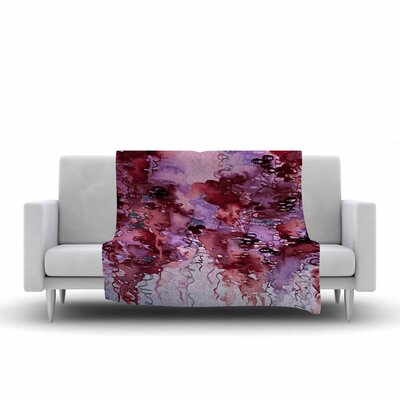 Ebi Emporium Beauty in the Rain Fleece Throw Size: 50 W x 60 L, Color: Red/Purple