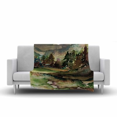 Ebi Emporium Never Leave the Path 1 Watercolor Fleece Throw Size: 50 W x 60 L