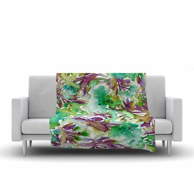 Ebi Emporium Floral Destiny 9 Watercolor Fleece Throw Size: 60 W x 80 L