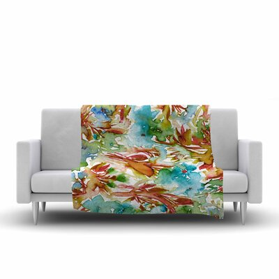 Ebi Emporium Floral Destiny 3 Watercolor Fleece Throw Size: 60 W x 80 L