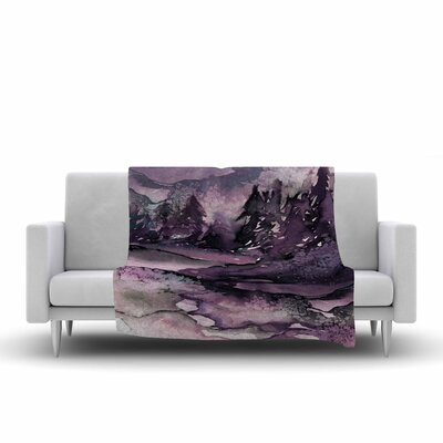 Ebi Emporium Never Leave the Path 6 Watercolor Fleece Throw Size: 50 W x 60 L