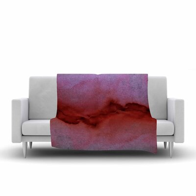 Ebi Emporium the Vibe, Watercolor Fleece Throw Color: Red/Gray, Size: 60 W x 80 L