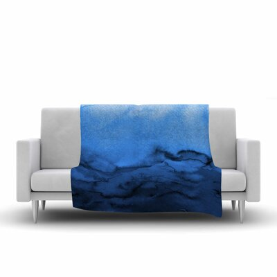 Ebi Emporium Winter Waves, Painting Fleece Throw Size: 60 W x 80 L, Color: Blue