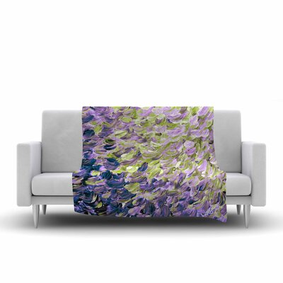 Ebi Emporium Frosted Feathers, Painting Fleece Throw Size: 50 W x 60 L, Color: Purple/Lavender