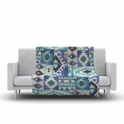 Jacqueline Milton Tribal Patch Painting Fleece Throw Size: 50 W x 60 L, Color: Blue