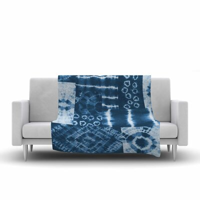 Jacqueline Milton Shibori Patchwork Abstract Mixed Media Fleece Throw Size: 60 W x 80 L