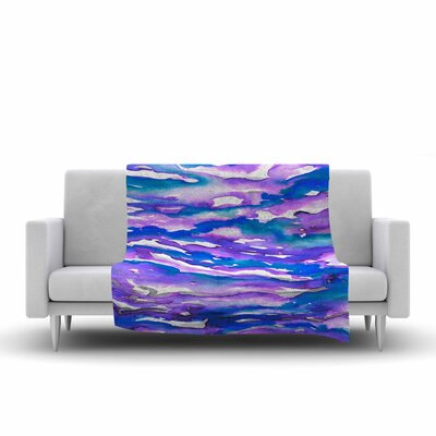Ebi Emporium Flutter, Watercolor Fleece Throw Size: 50 W x 60 L, Color: Blue/Purple
