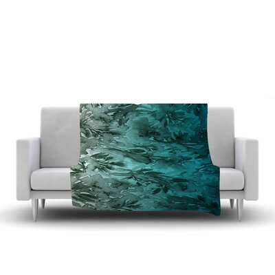Ebi Emporium Forever Flowers Fleece Throw Size: 60 W x 80 L, Color: Teal/Gray